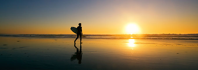 Surfing Sunset Image